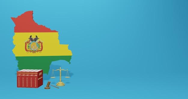 Boliviaanse wet voor infographics, sociale media-inhoud in 3d-weergave