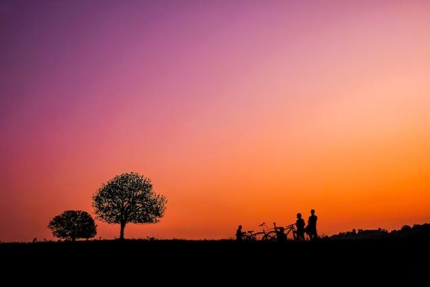 Bomen en toeristen die de fiets bij zonsondergang in thung kraang, chaiyaphum-provincie, thailand berijden