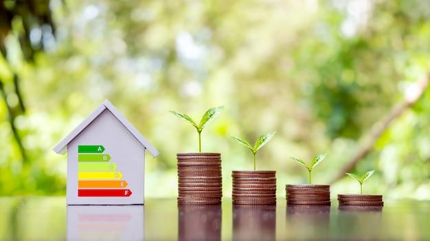 Bomen groeien op stapels geld en energiebesparende grafieken in een thuiskantoormodel