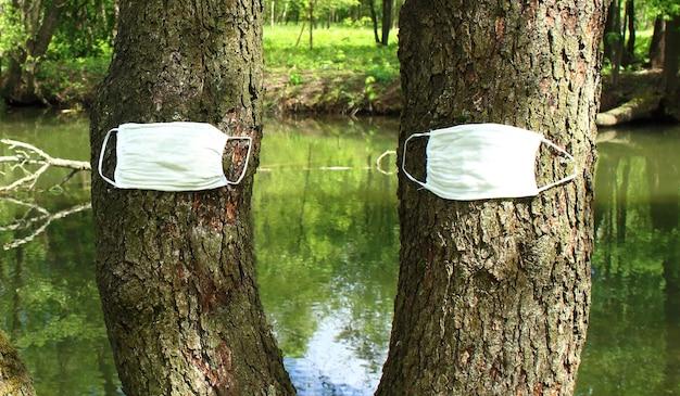 Bomen in de natuur worden beschermd tegen een pandemie met medische maskers