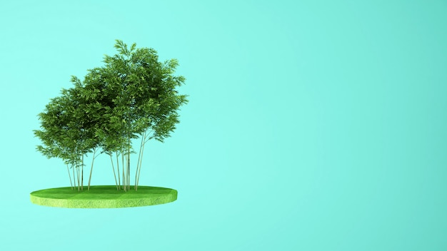 Bomen in de weide op het eiland
