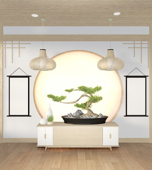Bonsaiboom op kabinet houten op muurruimte zen stijl en decoraion houten ontwerp, aardetoon. 3d-rendering