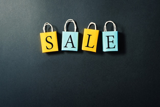 Boodschappentas met verkoop tekst