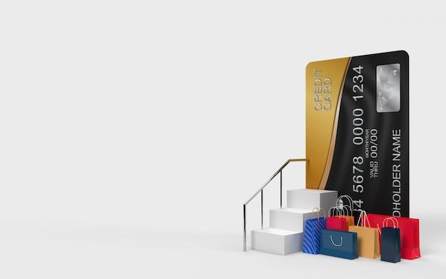 Boodschappentassen en de trap op naar de creditcard dat is een online winkel op internet digitale markt voor uitchecken door de consument.