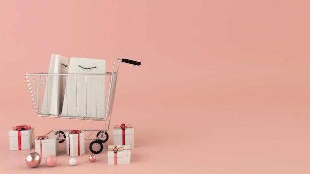 Boodschappentassen en kar op een roze achtergrond