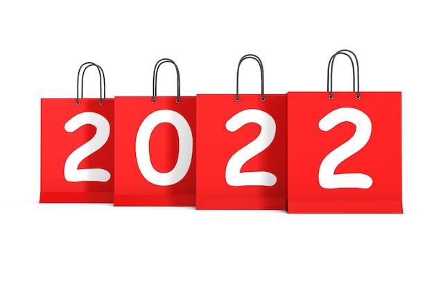 Boodschappentassen met 2022 nieuwjaar teken op een witte achtergrond. 3d-rendering