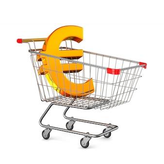 Boodschappenwagentje en teken euro op witte achtergrond. geïsoleerde 3d-afbeelding