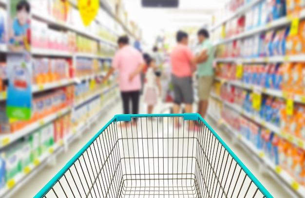 Boodschappenwagentje in supermarkt.