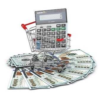 Boodschappenwagentje met rekenmachine op dollarbankbiljetten. 3d