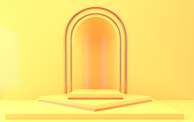 Boog met een podium in gele kleuren, minimale portal, 3d-rendering, scène met geometrische vormen, minimale abstracte achtergrond