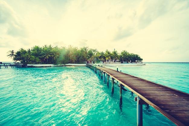 Boom eiland achtergrond blauwe oceaan