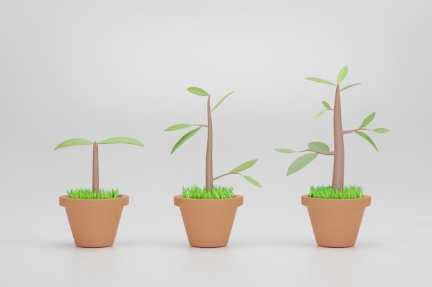 Boom groei. set met fasen plantengroei geïsoleerd. 3d-rendering