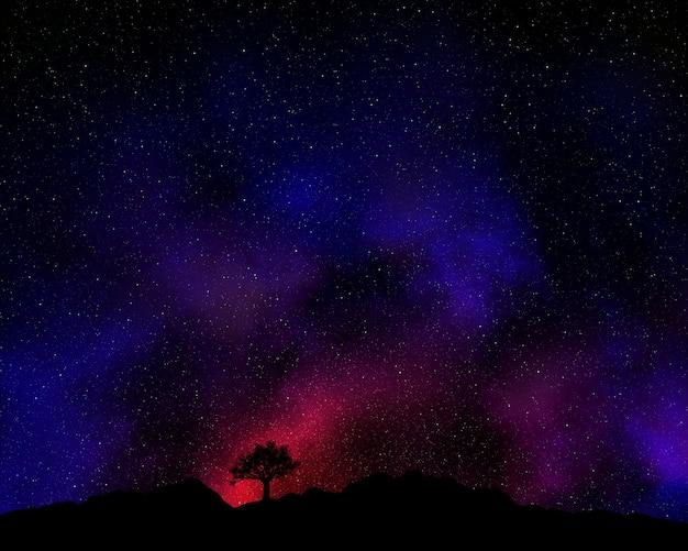 Boom silhouet tegen een nachthemel met nevel