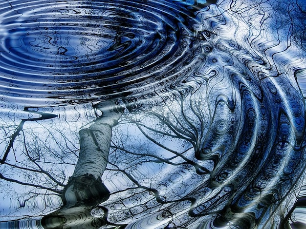 Boom zie winter berk mirroring ringen golf water