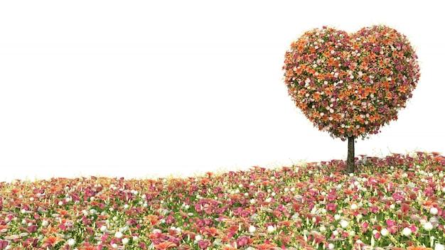 Boombloem in de vorm van hart op wit wordt geïsoleerd dat