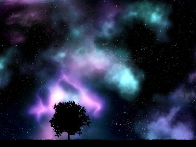 Boomsilhouet met nevel en sterren