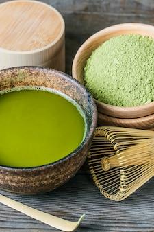 Boord van een kom thee green tea