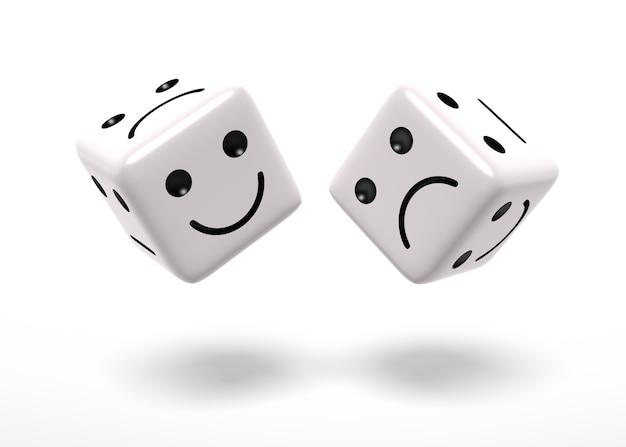 Boos en gelukkig dobbelstenen. digitaal gegenereerde afbeelding. geïsoleerd op wit. driedimensionale weergave