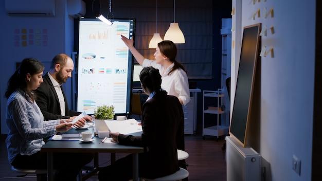 Boos geïrriteerde gefrustreerde zakenvrouw die 's avonds laat in de vergaderruimte van het kantoor binnenkomt en schreeuwt om teamwerk en strategiepapieren gooit