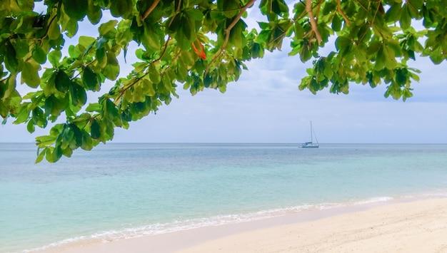 Boot in de zee in de avond mooi, zomeravontuur, actieve vakantie in thailand zee en eiland