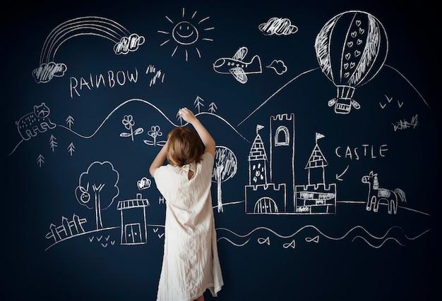 Bord die het creatieve concept van het verbeeldingsidee trekken