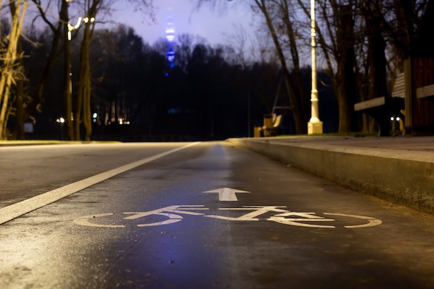 Bord fietspad 's nachts in het park