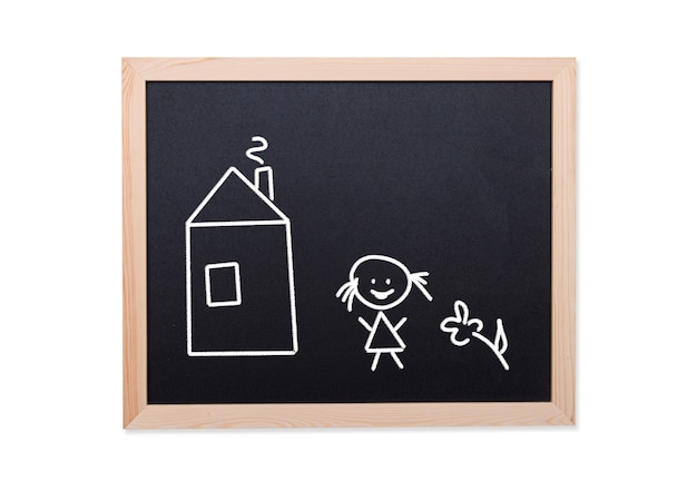 Bord met de tekening van het kind: huis, bloem en glimlachend meisje, conceptenbeeld
