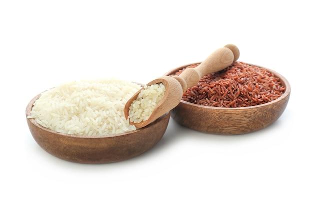 Borden met verschillende rauwe rijst