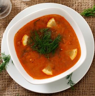 Borsch soep met dille