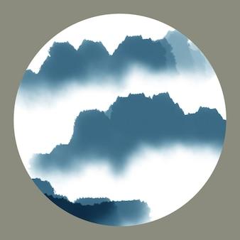 Borstel abstracte reisgrafiek berg