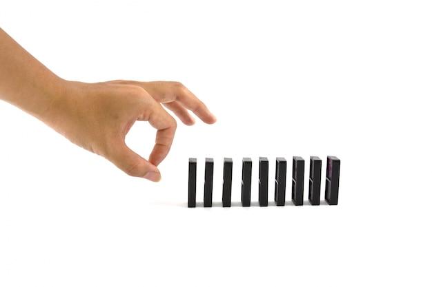 Borstel de hand enkel spel wit