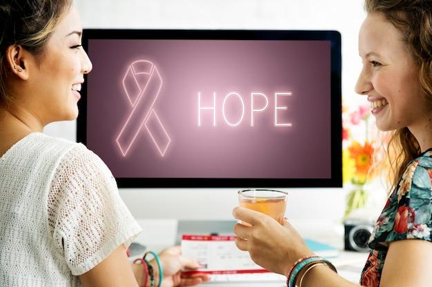 Borstkanker ondersteuning strijd zorg hoop grafisch concept