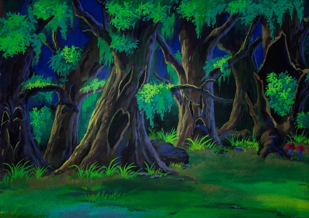 Bos geschilderd in aquarel