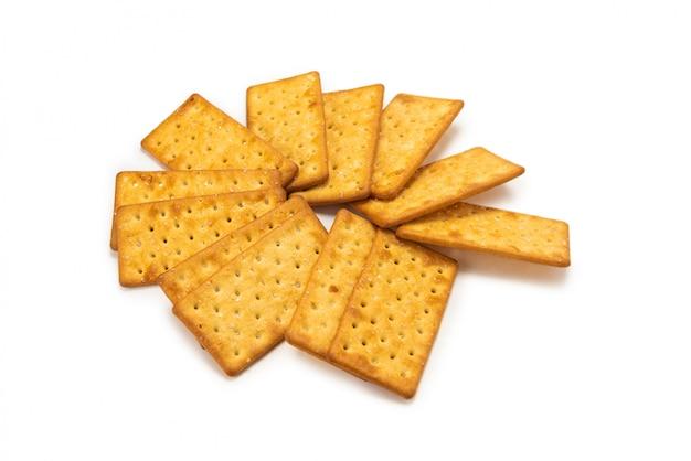 Bos van crackers met geïsoleerd zout