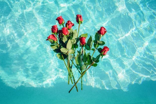 Bos van rode rozen die op het water hangen
