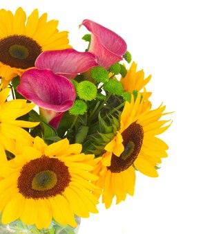 Bos van zonnebloemen callas en moeders close-up geïsoleerd