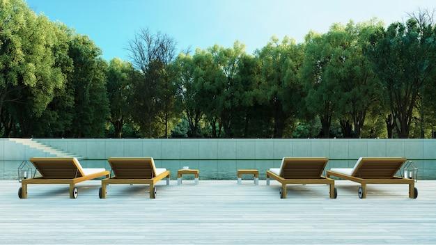 Bos zwembad villa resort / 3d-rendering buiten
