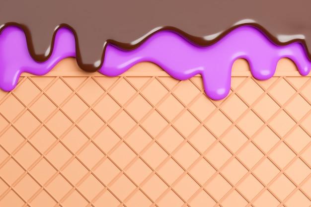 Bosbessen en chocolade-ijs gesmolten op wafer achtergrond., 3d-model en illustratie.