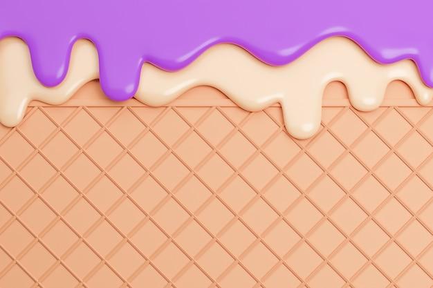 Bosbessen en vanille-ijs gesmolten op wafer achtergrond., 3d-model en illustratie.