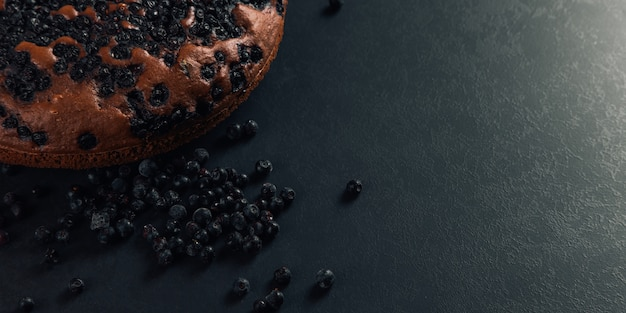 Bosbessentaart met bessen, zelfgemaakt vers gebak, op steen. kopieer ruimte.