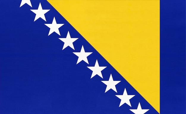 Bosnië en herzegovina nationale textiel vlag textiel achtergrond,