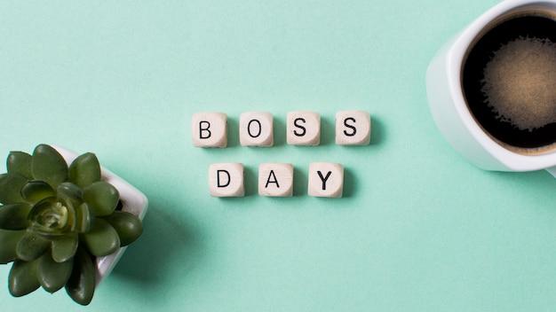 Boss's day arrangement op lichtblauwe achtergrond