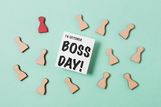 Boss's day assortiment op lichtblauwe achtergrond
