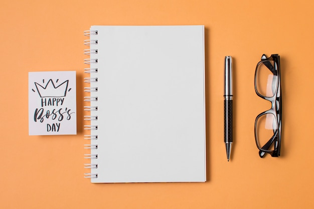 Boss's day-samenstelling op oranje achtergrond