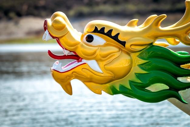 Boten met drakenkoppen op een meer