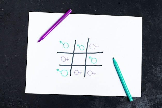 Boter-kaas-en-eieren-spel gespeeld met vrouw en man geslachtssymbolen