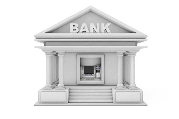Bouw bank cash atm-machine als bank voortbouwend op een witte achtergrond. 3d-rendering