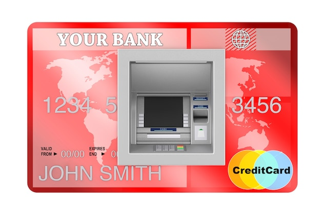 Bouw bank cash atm machine in credit card extreme close-up. 3d-rendering
