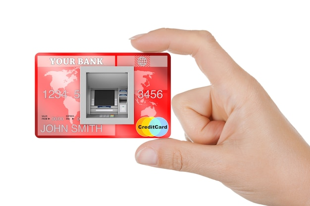 Bouw bank cash atm machine in creditcard in vrouw hand extreme close-up. 3d-rendering