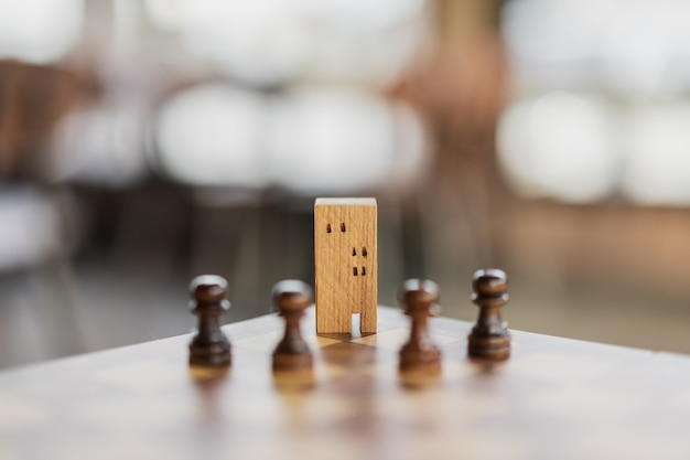 Bouw- en huismodellen in schaakspel, zakelijk financieel